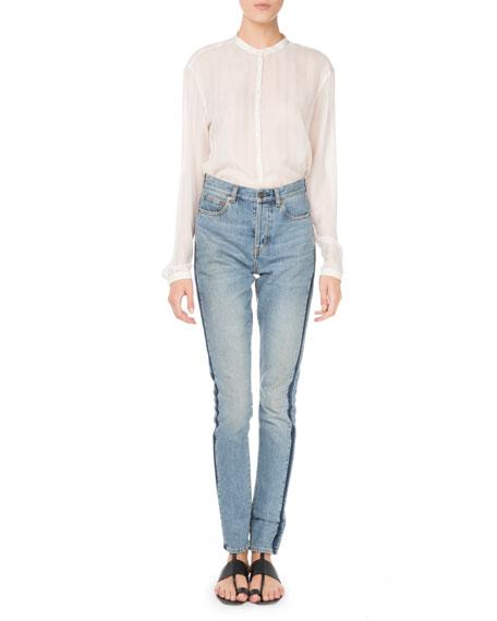 Button-Down Striped Silk Shirt