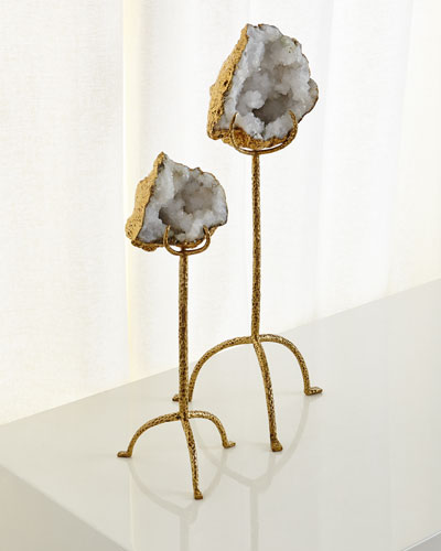 White Quartz Geode on Brass Stand, Tall  and Matching Items