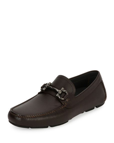 Pebbled Leather Gancini Driver, Chocolate Brown
