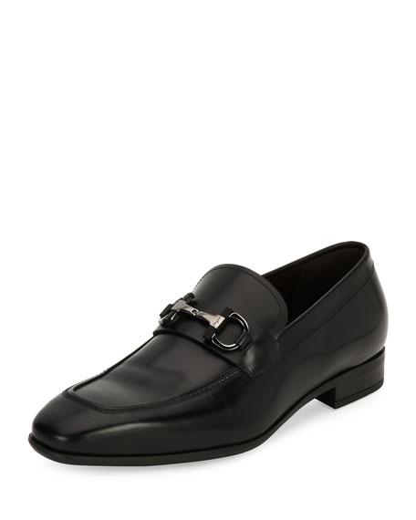 Gancini-Bit Leather Loafer, Black