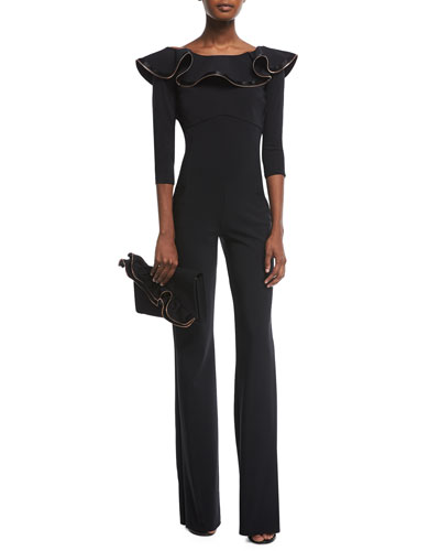 Ginko Boat-Neck Flared Jumpsuit w/ Zipper Ruffle  and Matching Items
