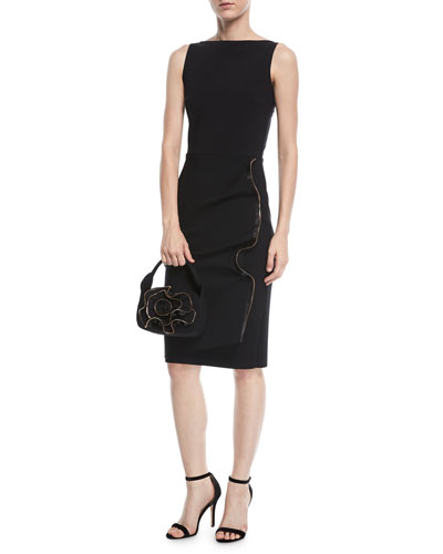 Branka Boat-Neck Sleeveless Midi Cocktail Dress w/ Zipper Detail and Matching Items