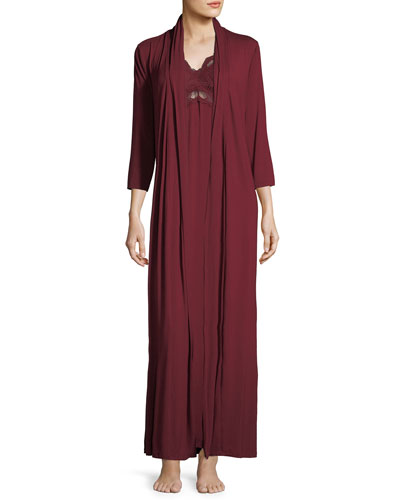 Forever Silk-Trim Long Robe and Matching Items
