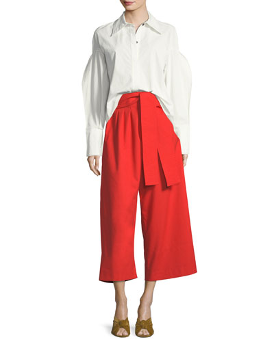 Tate Button-Front Pouf-Sleeves Poplin Shirt and Matching Items