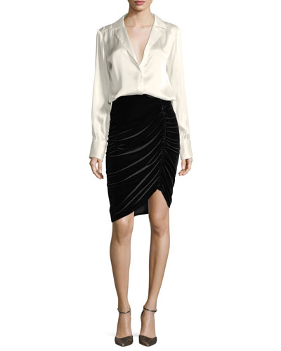 Hypnotist Ruched Velvet Pencil Skirt and Matching Items