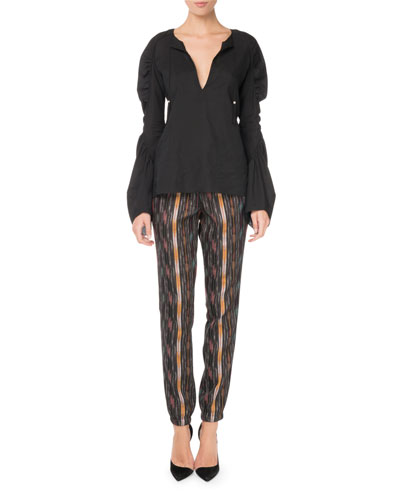 Drawstring Ikat-Print Straight-Leg Pants and Matching Items