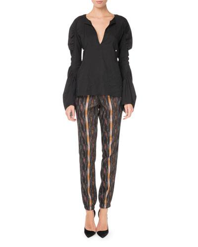 Drawstring Ikat-Print Straight-Leg Pants and Matching Items