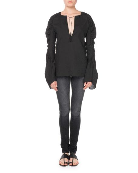 Tassel-Tie Ruched-Sleeves Blouse