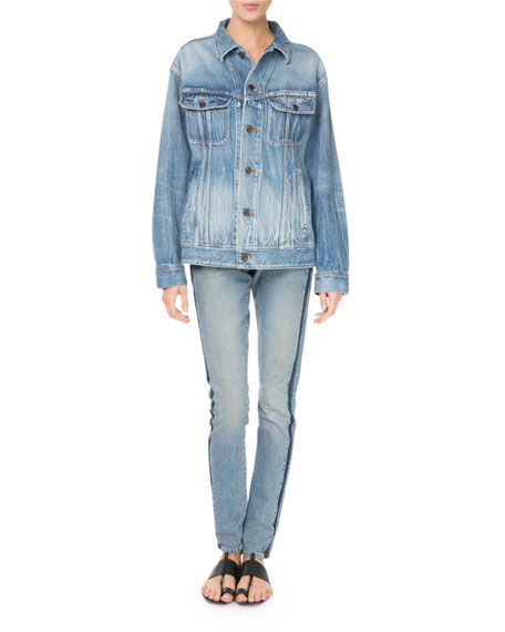 Button-Front Long-Sleeve Oversized Denim Jacket