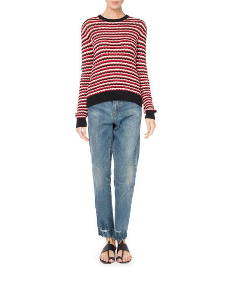 Crewneck Long-Sleeve Stripe Crochet Cotton Sweater