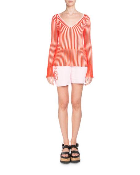V-Neck Long-Sleeve Striped Knit Sweater