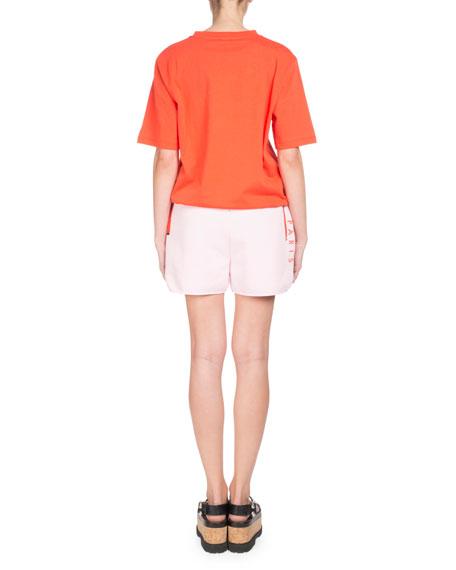 Tiger-Motif Crewneck Short-Sleeve Cotton T-Shirt