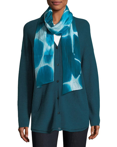 Shibori Silk Zigzag Pattern Scarf and Matching Items