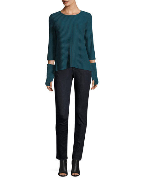3/4-Sleeve Fine-Ribbed Wool Top