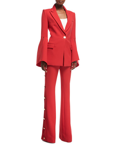 Peak-Lapels Bell-Sleeve One-Button Crepe Blazer and Matching Items