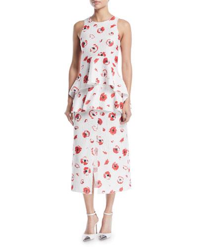 Sleeveless Poppy-Print Jacquard Peplum Top and Matching Items