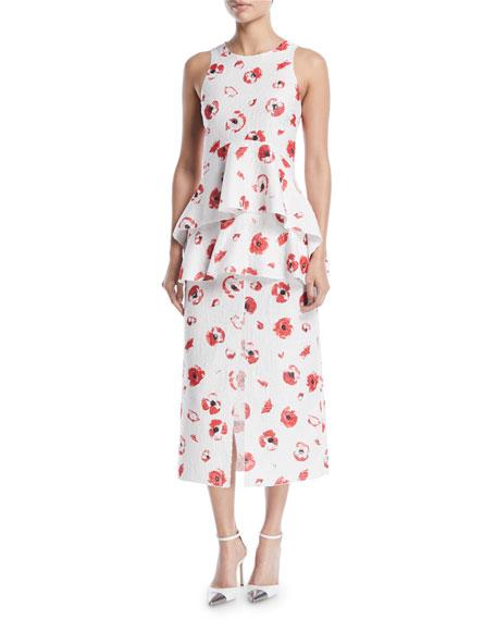 Sleeveless Poppy-Print Jacquard Peplum Top