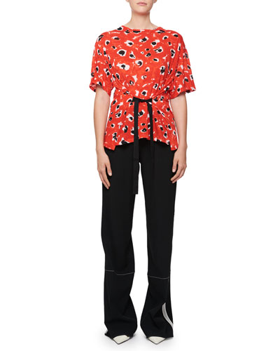 High-Waist Wide-Leg Pants with Stitching Detail and Matching Items