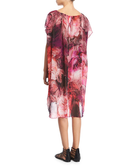 Tulle Floral-Print Coverup Dress