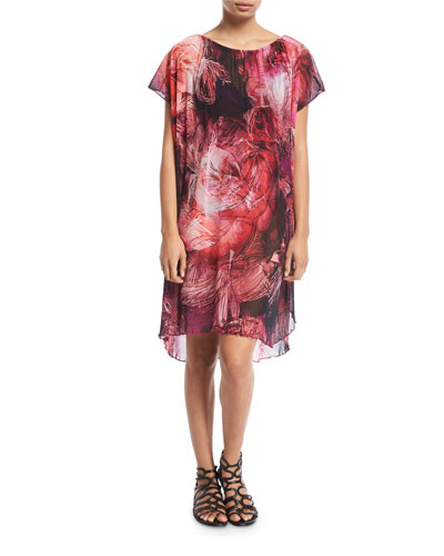 Tulle Floral-Print Coverup Dress and Matching Items