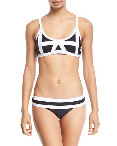 Colorblock Corset Swim Top, Midnight and Matching Items