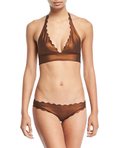 Reversible Seamless Wave Halter Swim Top, Copper and Matching Items