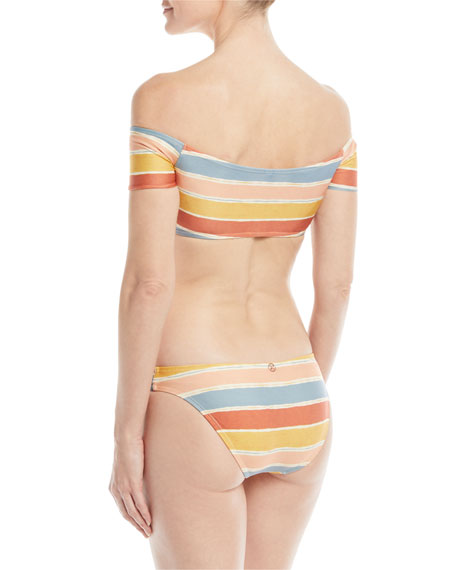 Guadalupe Off-the-Shoulder Striped Swim Top