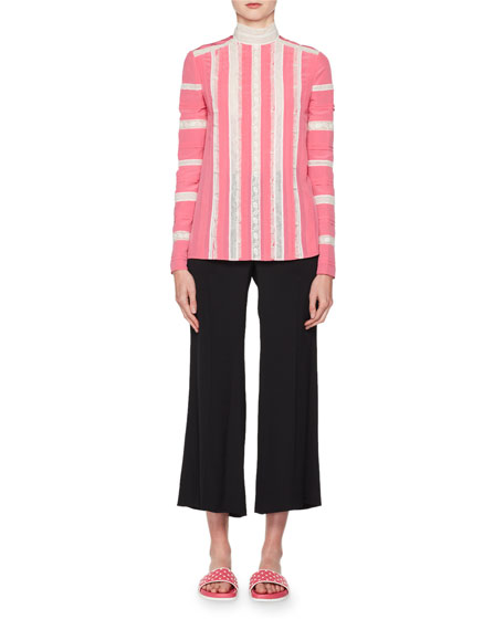 High-Rise Flared-Leg Cropped Silk Pants