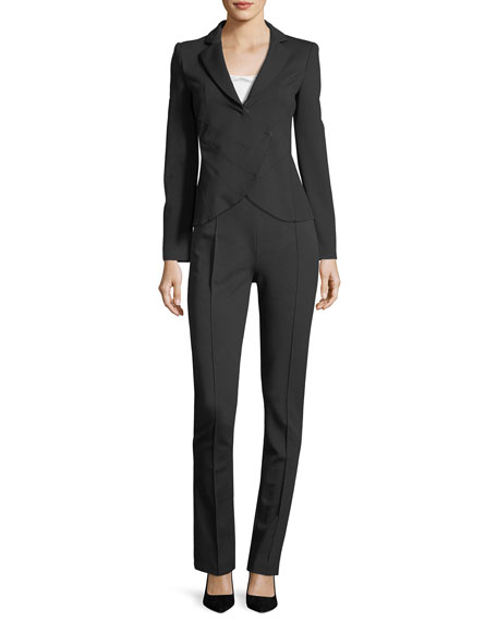 Notched-Lapel Asymmetrical Ruched Jacket