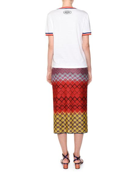 Crewneck Embroidered Love Short-Sleeve Cotton T-Shirt