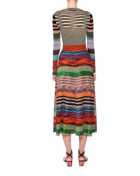 Multicolor Knit A-Line Maxi Skirt
