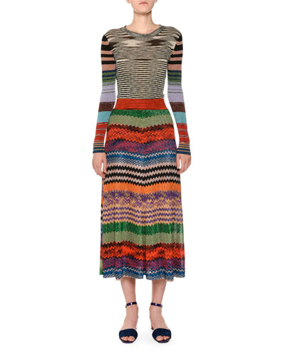 Multicolor Knit A-Line Maxi Skirt and Matching Items