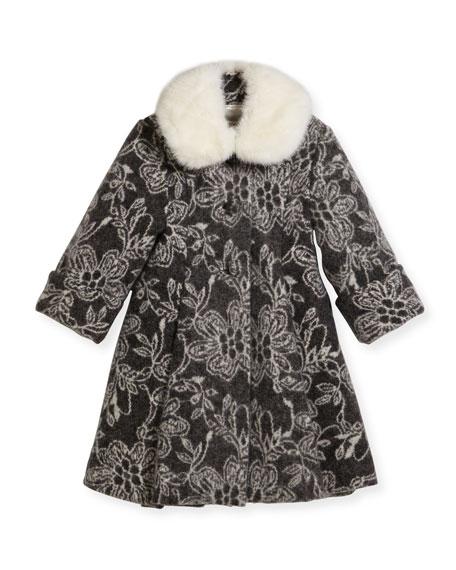 Inverted-Pleat Jacquard Dress, Size 2-6