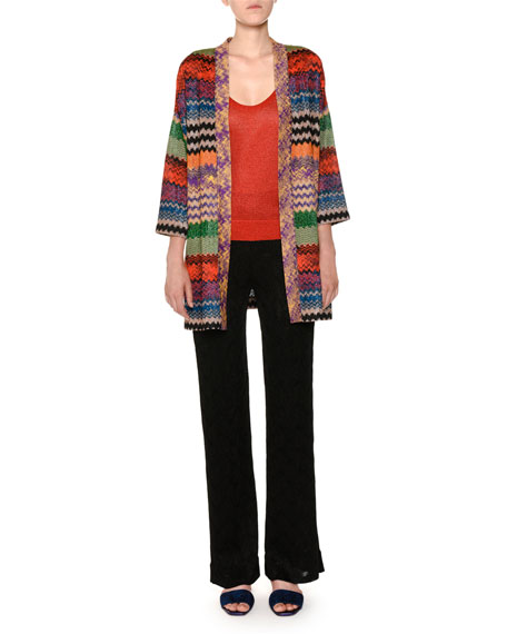 Open-Front Multicolor Metallic Knit Oversized Cardigan
