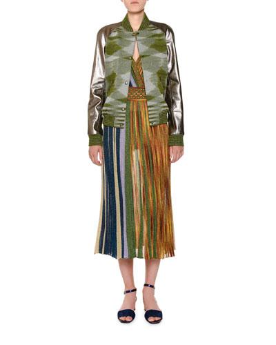 V-Neck Sleeveless Plisse Lamé Reversible Maxi Dress and Matching Items