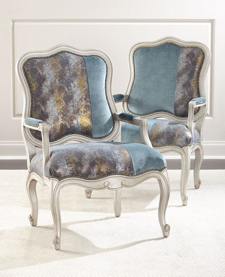 Lily Leather & Velvet Bergere Chair