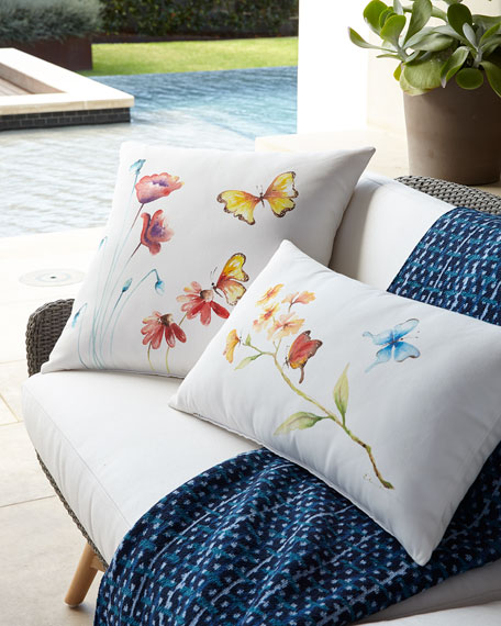 "Hand-Painted Butterfly Pillow, 22""Sq."