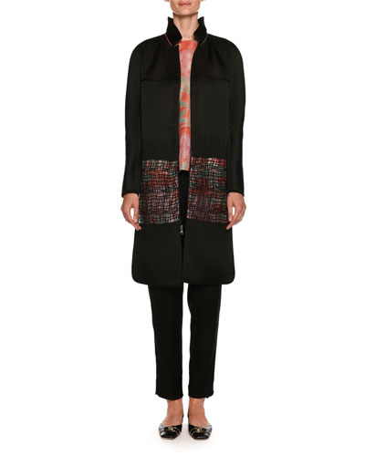 Satin Reversible Coat with Floral-Print & Sheer Lattice and Matching Items
