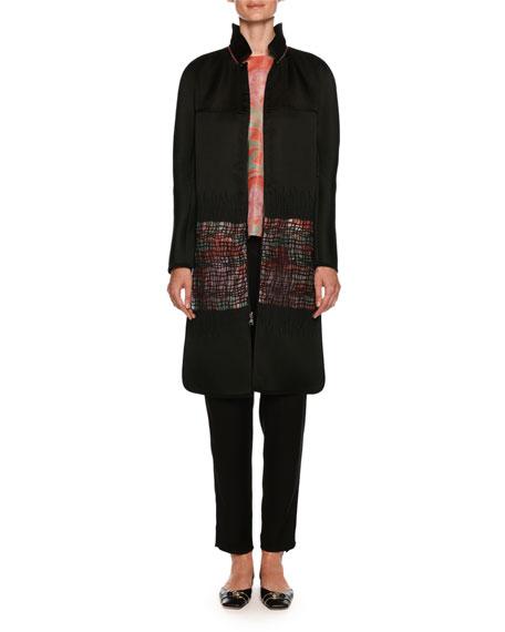 Satin Reversible Coat with Floral-Print & Sheer Lattice
