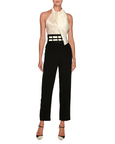 High-Waist Rib Cage Straight-Leg Crepe Silk Pants and Matching Items