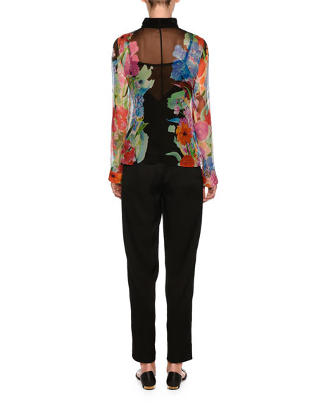 Tie-Neck Floral-Print Sheer Blouse
