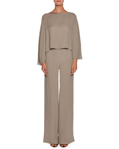 Side-Zip Crinkled Cady Wide-Leg Pants and Matching Items