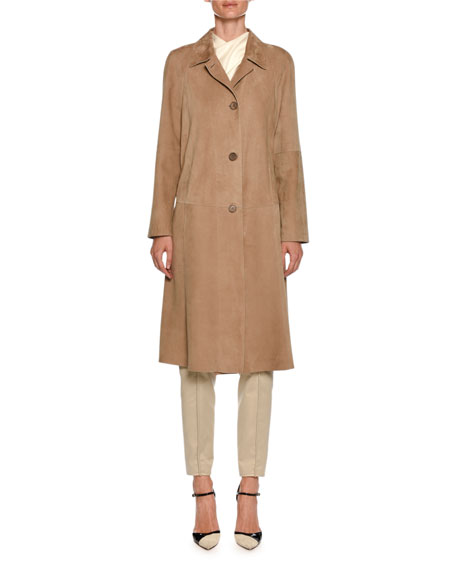 Lamb Leather Suede Trench Coat