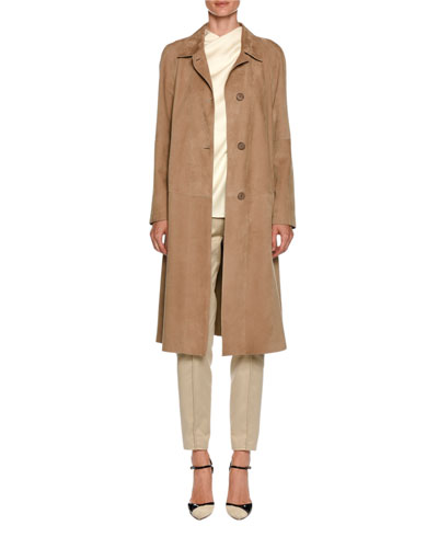 Lamb Leather Suede Trench Coat and Matching Items
