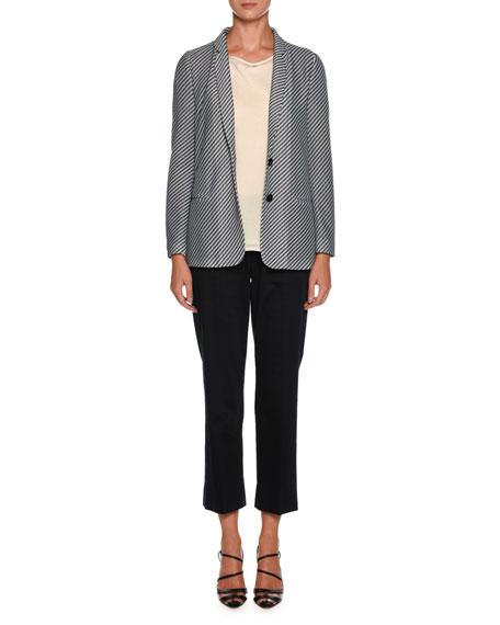 Diagonal-Stripe Jersey Jacquard Two-Button Jacket