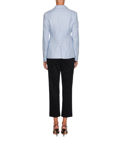 Straight-Leg Side-Zip Cropped Cotton Pants