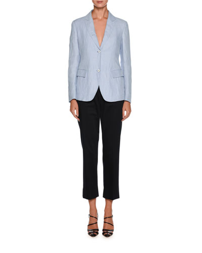 Straight-Leg Side-Zip Cropped Cotton Pants and Matching Items