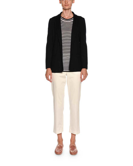 Graphic-Striped Round-Neck Long-Sleeve Knit