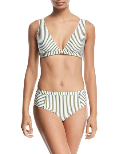 Picturesque Striped Triangle Swim Top and Matching Items