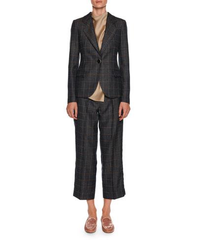 Windowpane-Check One-Button Wool-Silk Jacket and Matching Items